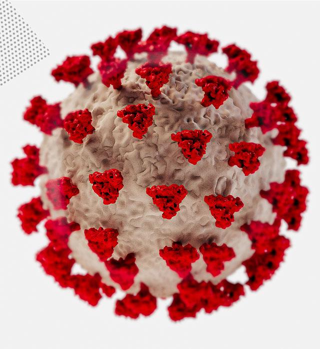 Illustrative Darstellung eines SARS-CoV-2 Virus